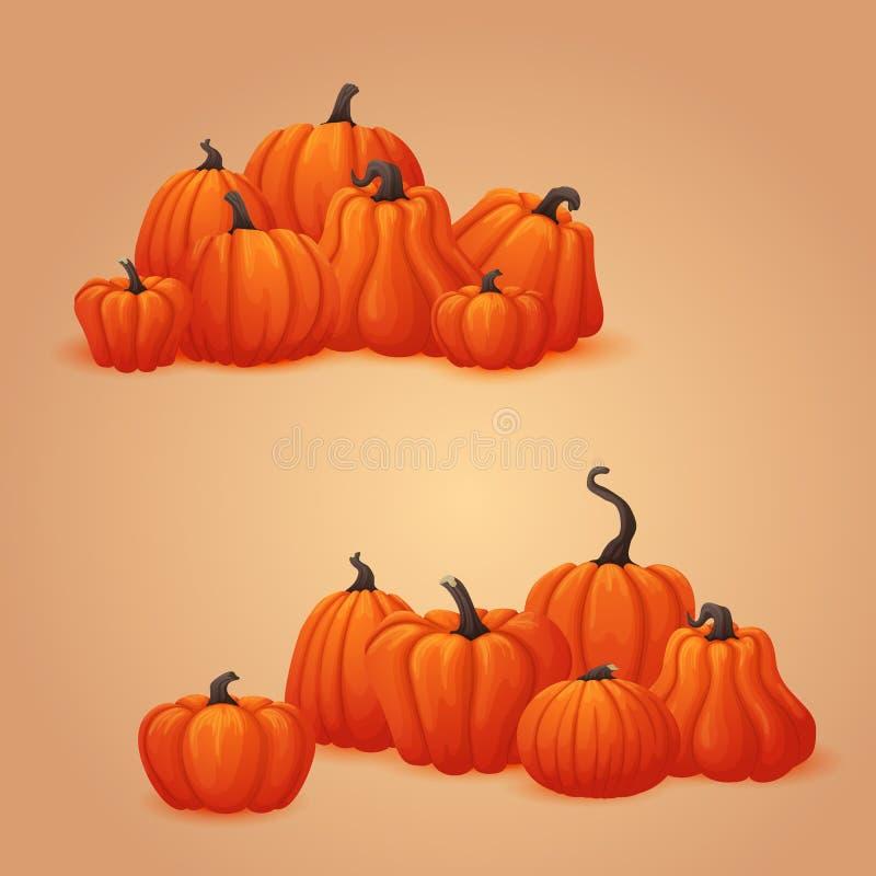 Tas des potirons oranges mûrs Automne de vecteur, thanksgiving, calibre de Halloween illustration libre de droits
