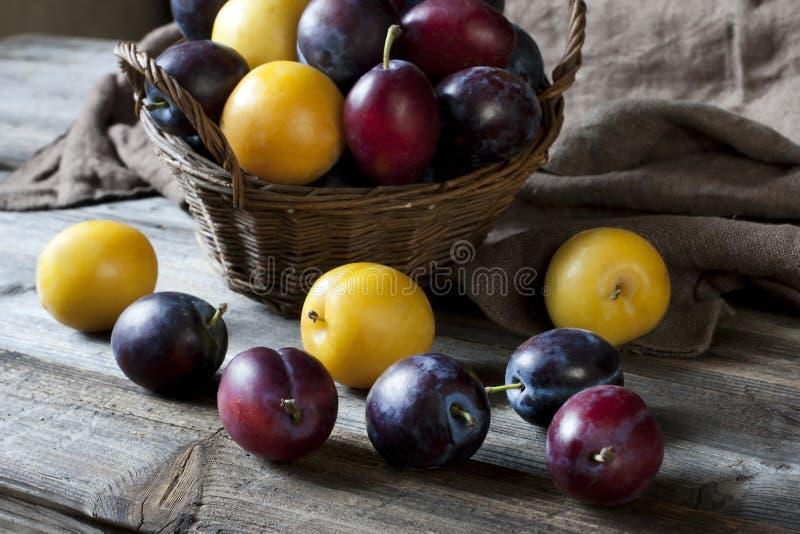 Tas des prunes colorées douces mûres image stock