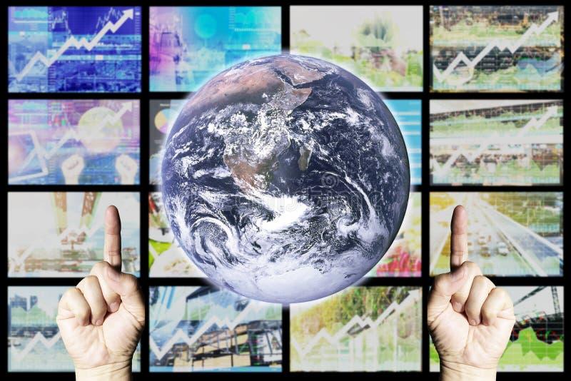 Tasa de crecimiento de la visión del negocio global con el índice de existencias fotos de archivo