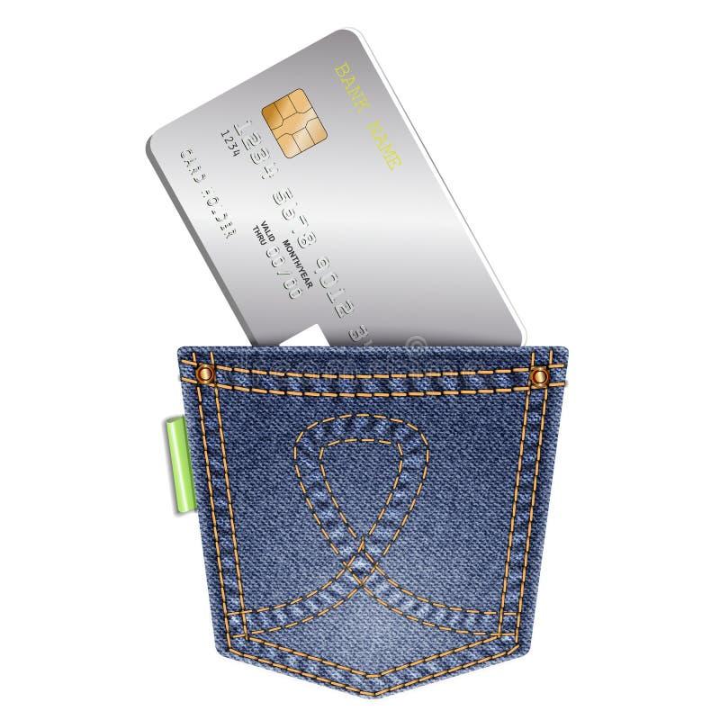 Tasca del denim con la carta di credito su un fondo bianco royalty illustrazione gratis