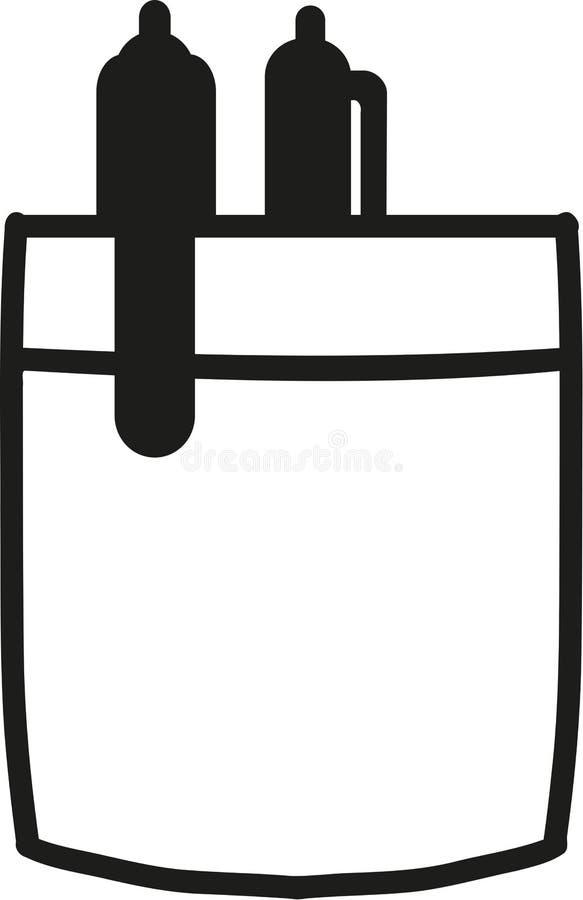 Tasca della camicia con due penne illustrazione vettoriale