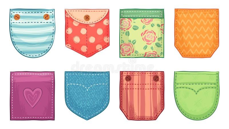 Tasche applicate di colore Le toppe della tasca della comodità con la cucitura, denim i bottoni delle tasche applicate e gli acce illustrazione vettoriale