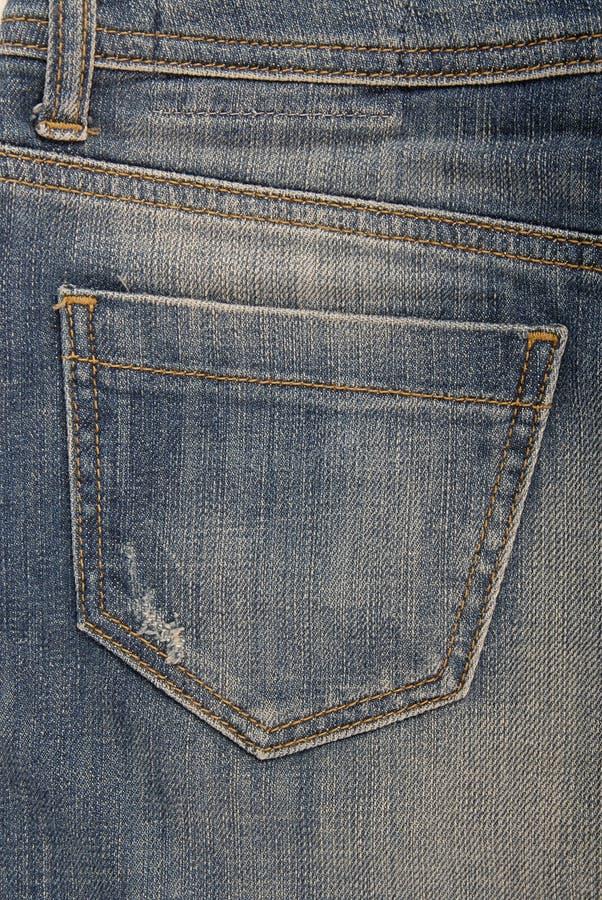 Tasche auf Denimrock stockfoto