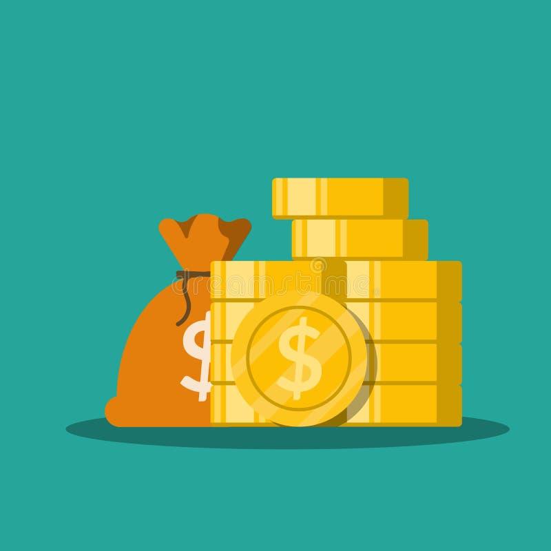 Tasche des flachen Geldes des Vektors mit Goldmünzestapel Illustration lokalisiert auf grünem Hintergrund vektor abbildung