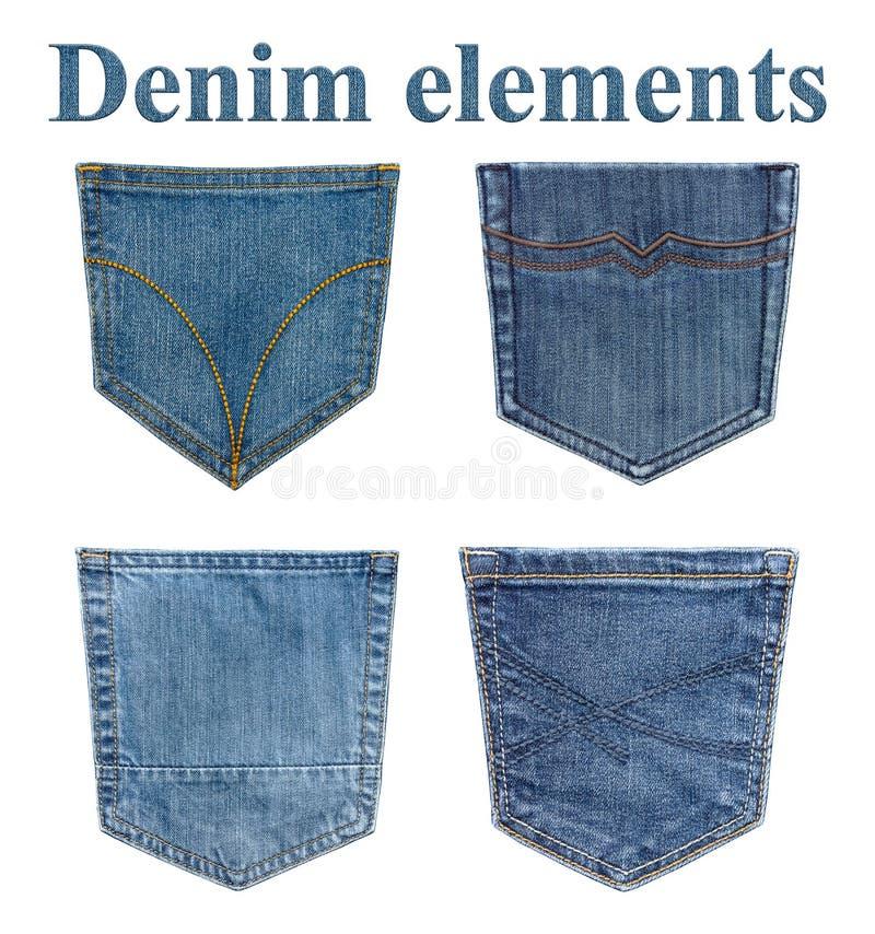 Tasche isolate dei jeans Quattro elementi dei jeans fotografia stock