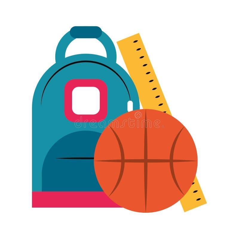 Tasche mit Basketball und Regel lizenzfreie abbildung