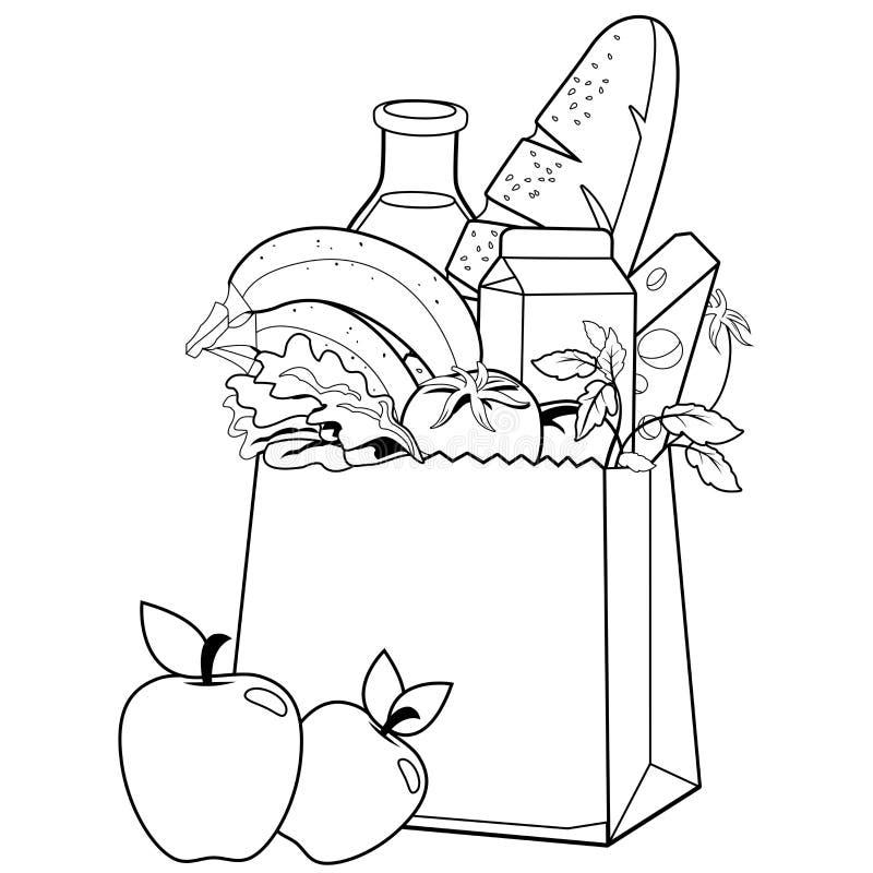 Tasche mit Lebensmittelgeschäften Schwarzweiss-Malbuchseite vektor abbildung