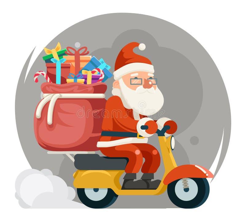 Taschen-Geschenkbox-Santa Claus Delivery Courier Scooter Symbol-Kasten-Ikonen-Konzept lokalisierter Karikatur-flacher Design-Vekt vektor abbildung