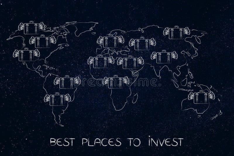 Taschen mit Bargeld über einer Karte der Welt, zu investieren Plätze lizenzfreie abbildung