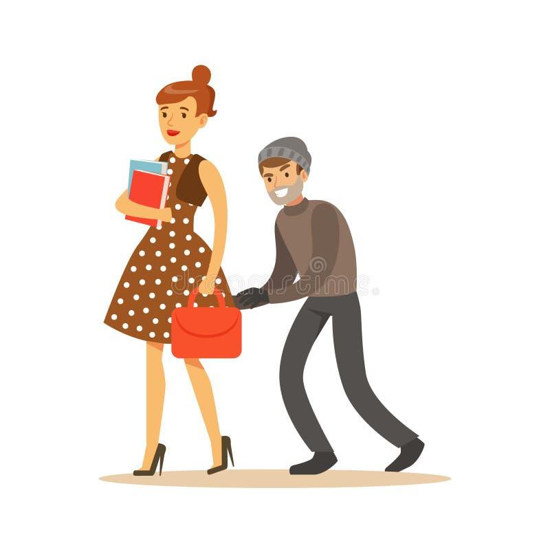Taschendieb, der versucht, Tasche vom Mädchen zu stehlen Bunte Zeichentrickfilm-Figur-Vektor Illustration vektor abbildung