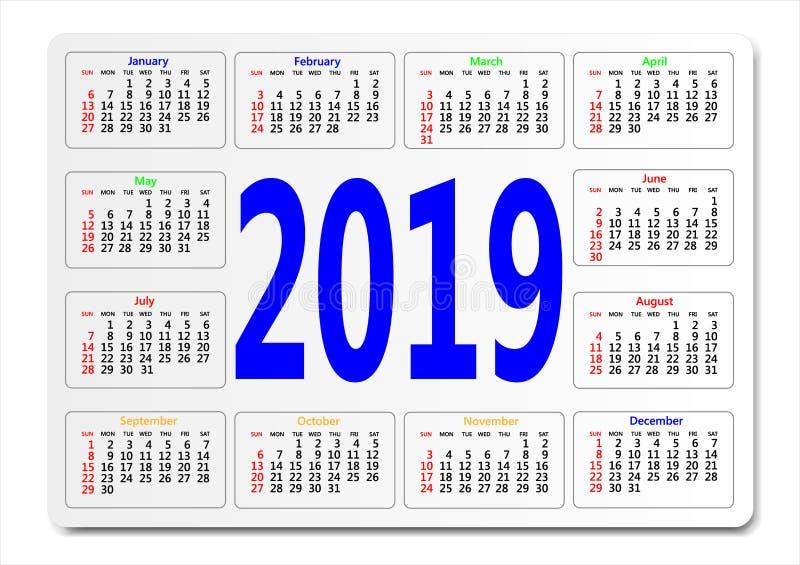 Taschenkalender für 2019-jähriges Kann als Schablone für Ihr Design verwendet werden vektor abbildung