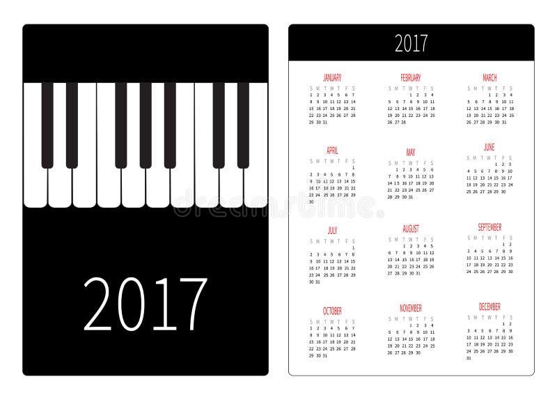 Taschenkalender 2017-jährig Woche beginnt Sonntag Vertikale Schablone Orientierung des flachen Designs Großes Klavier befestigt M vektor abbildung