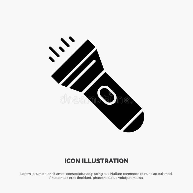 Taschenlampe, Licht, Fackel, grelle feste schwarze Glyph-Ikone lizenzfreie abbildung