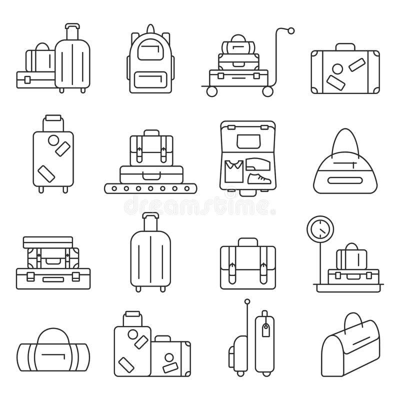 Taschenlinie Ikonensatz Gepäckbilder vektor abbildung
