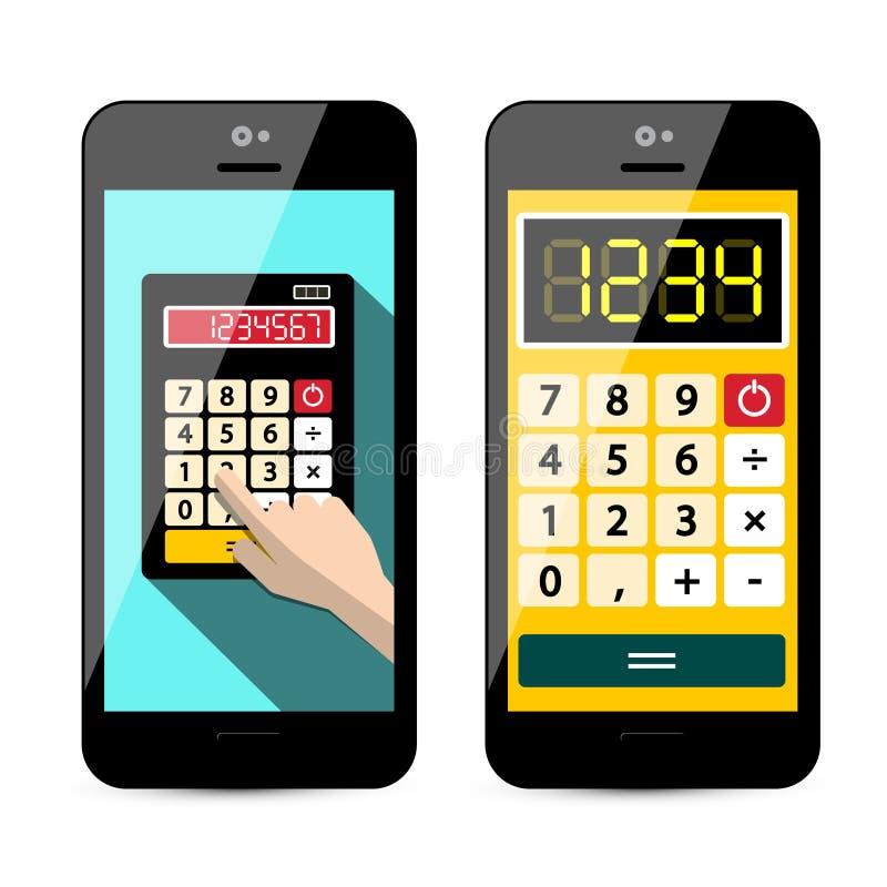 Taschenrechner App am Handy lokalisiert vektor abbildung