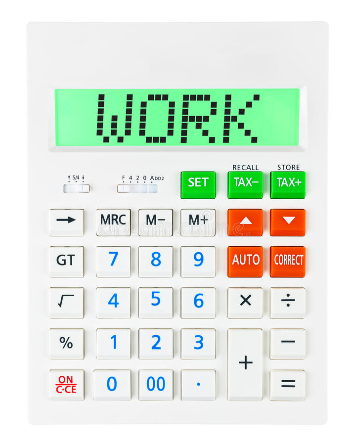 Taschenrechner mit ARBEIT über Anzeige stockfotografie