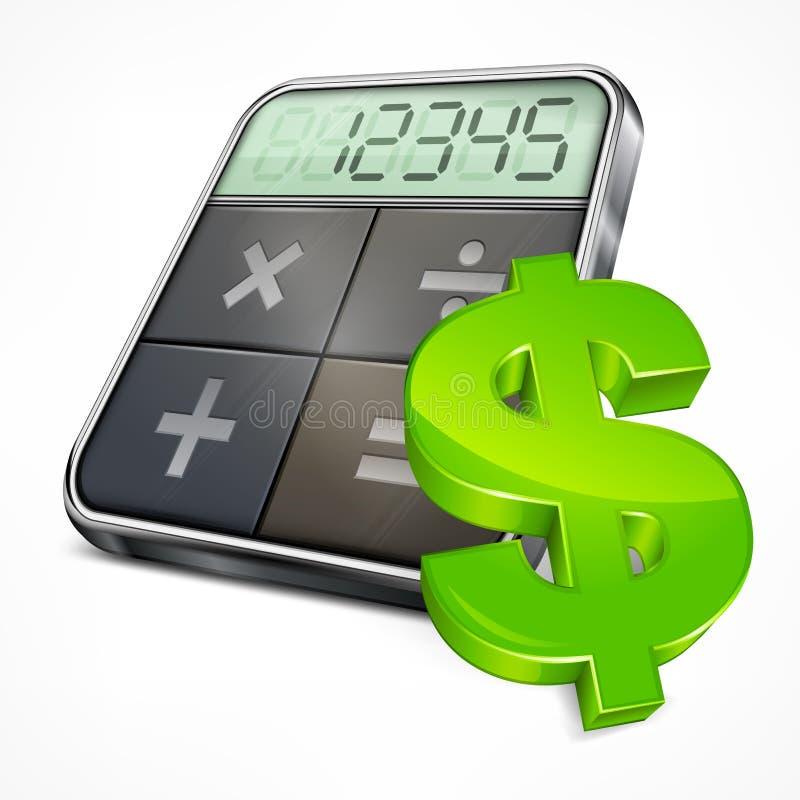 Taschenrechner- u. Dollarsymbol stock abbildung