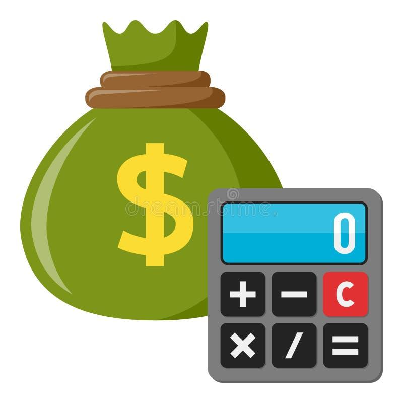 Taschenrechner u. grüner Sack der Geld-flachen Ikone lizenzfreie abbildung