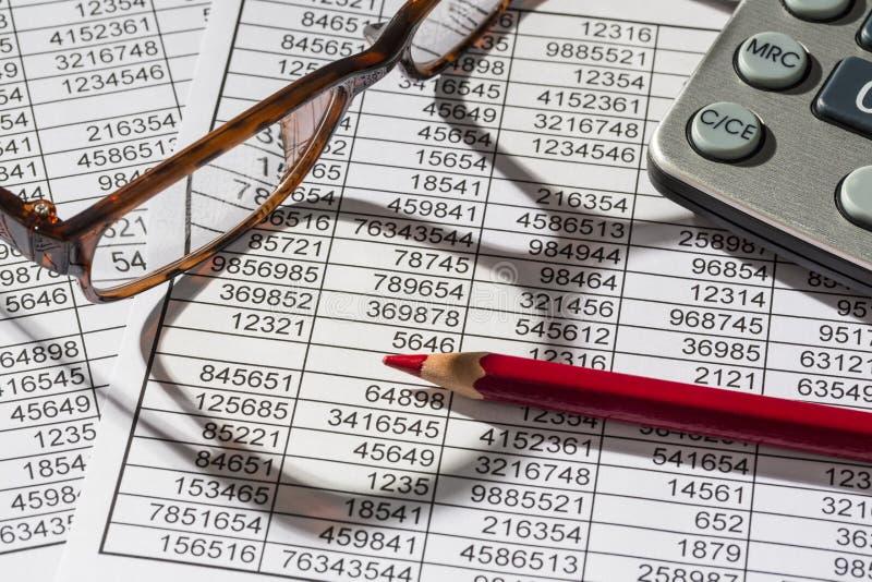 Taschenrechner und statistk stockfotos