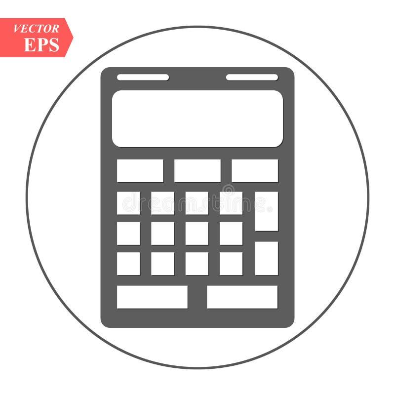 Taschenrechnerikonenvektor Einsparungen, Finanzen unterzeichnen lokalisiert auf Weiß, Wirtschaftskonzept, modische flache Art für lizenzfreie abbildung