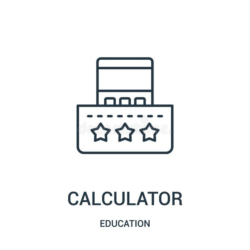 Taschenrechnerikonenvektor von der Ausbildungssammlung D?nne Linie Taschenrechnerentwurfsikonen-Vektorillustration lizenzfreie abbildung