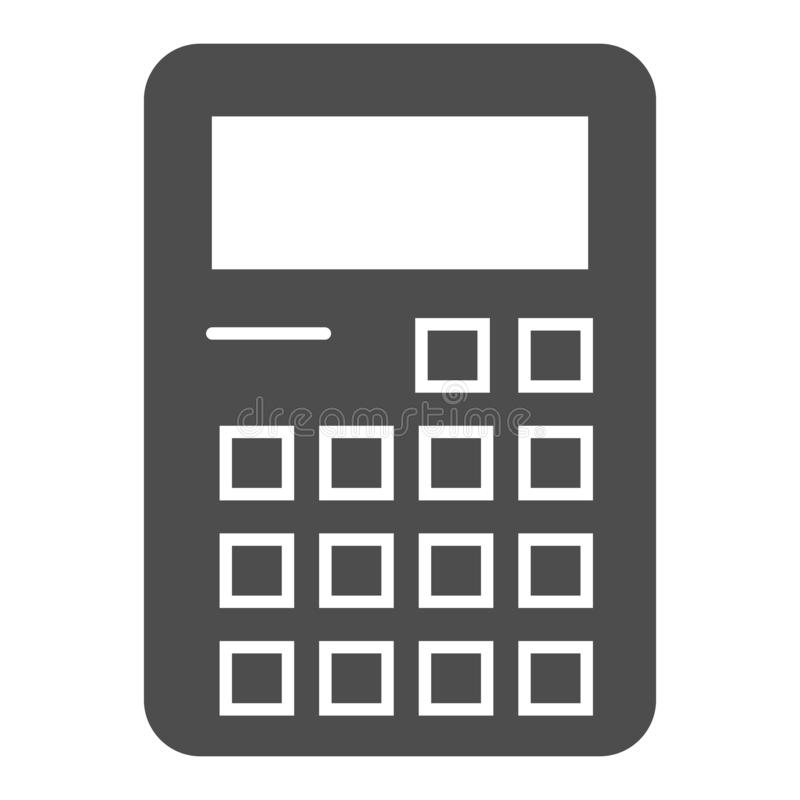 Taschenrechnerkörperikone Erklärende Zeichenvektorillustration lokalisiert auf Weiß Berechnung Glyph-Artentwurf, entworfen vektor abbildung
