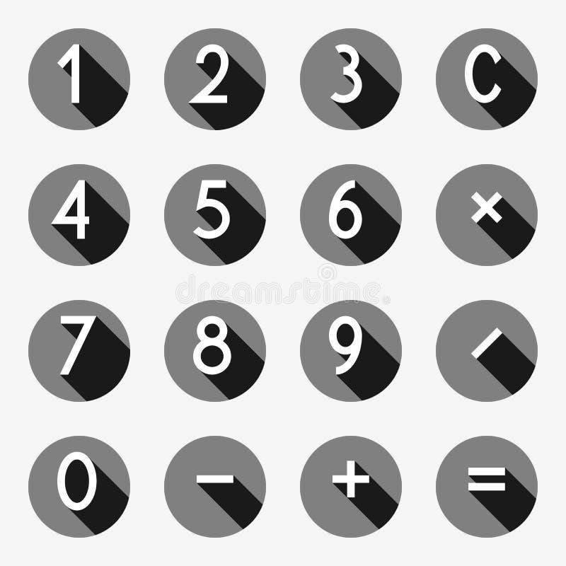 Taschenrechnerknöpfe im flachen Entwurf, Zahlen mit langem Schatten, Vektorillustration vektor abbildung