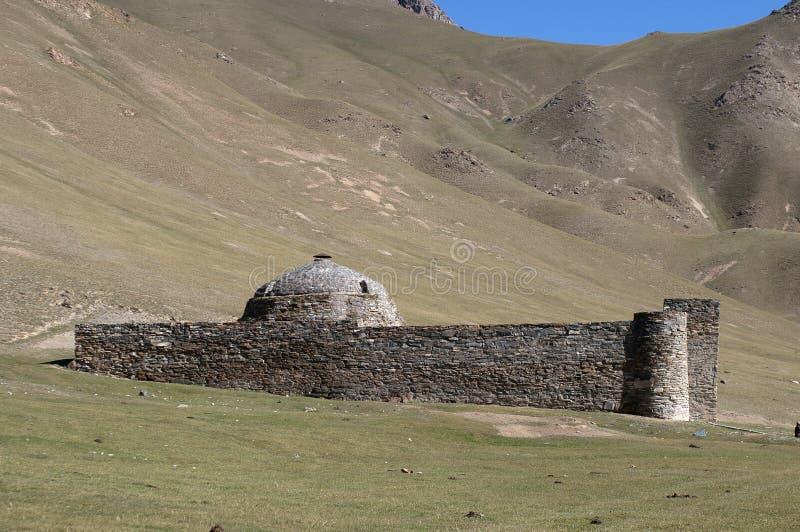 Tash Rabat castle in Kirgisistan stock images
