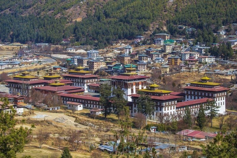 Tashichho Dzong в Тхимпху, Бутане стоковые изображения