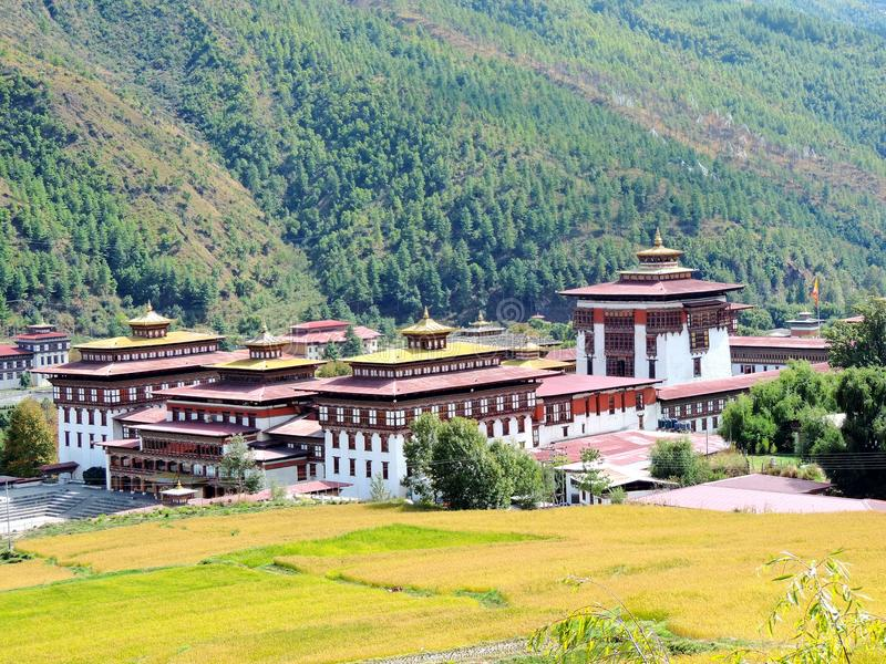 Tashichho Dzong, Thimphu, Bhutan. Tashichho dzong is a Buddhist monastery and fortress on the northern edge of the city of Thimphu in Bhutan, on the western bank stock photography