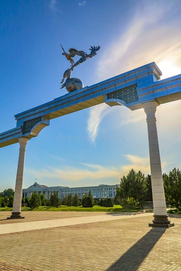 Tashkent Mustaqilliq Maidoni 10. Tashkent Mustaqilliq Maidoni Main Fountain Square with Picturesque Breathtaking Gate Closeup stock image