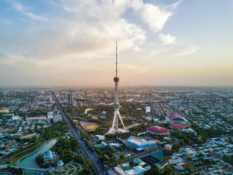 Tashkent TV Tower Aerial Shot During Sunset in Uzbekistan. Taken in 2018 stock image