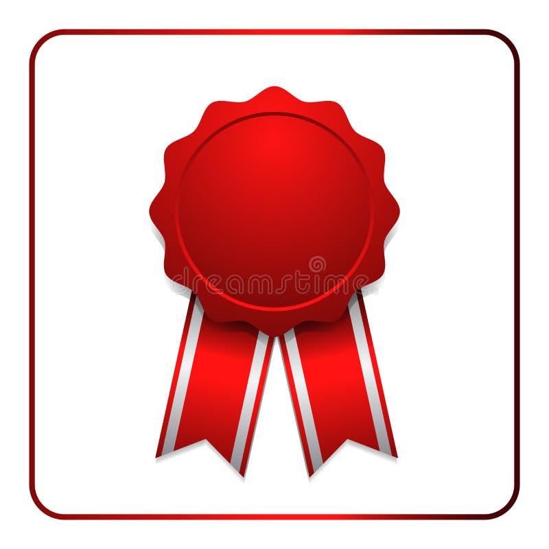 Tasiemkowa nagrody ikony czerwień 1 ilustracja wektor