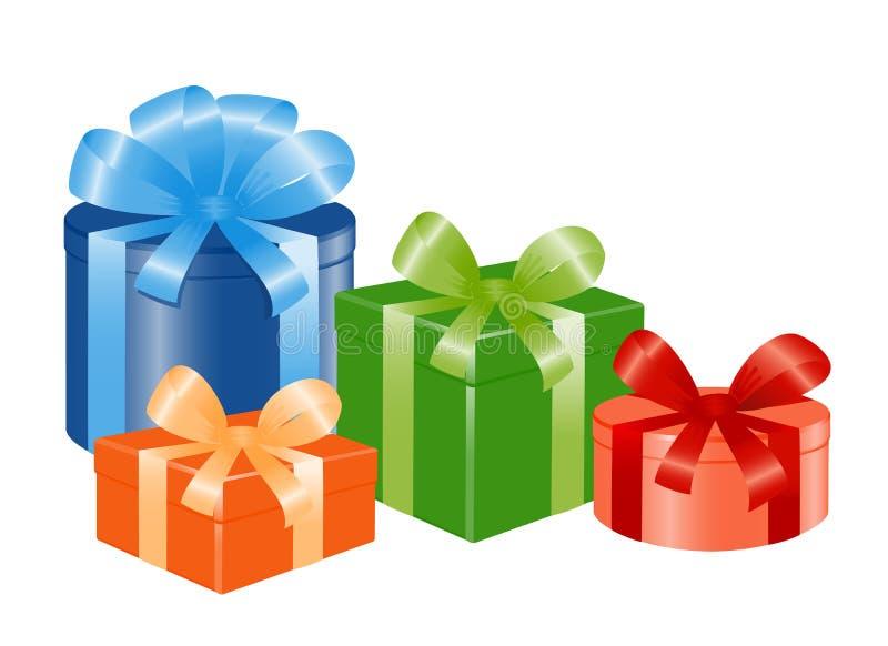 tasiemkowego cztery giftboxes ilustracja wektor