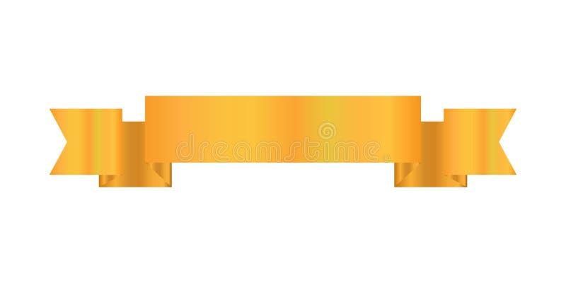 Tasiemkowego projekta złocisty kolor, Tasiemkowa ikona ilustracji
