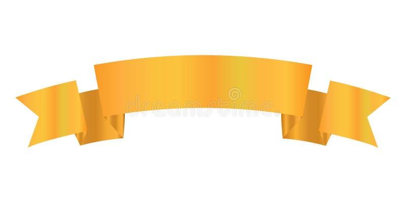 Tasiemkowego projekta złocisty kolor, Tasiemkowa ikona royalty ilustracja