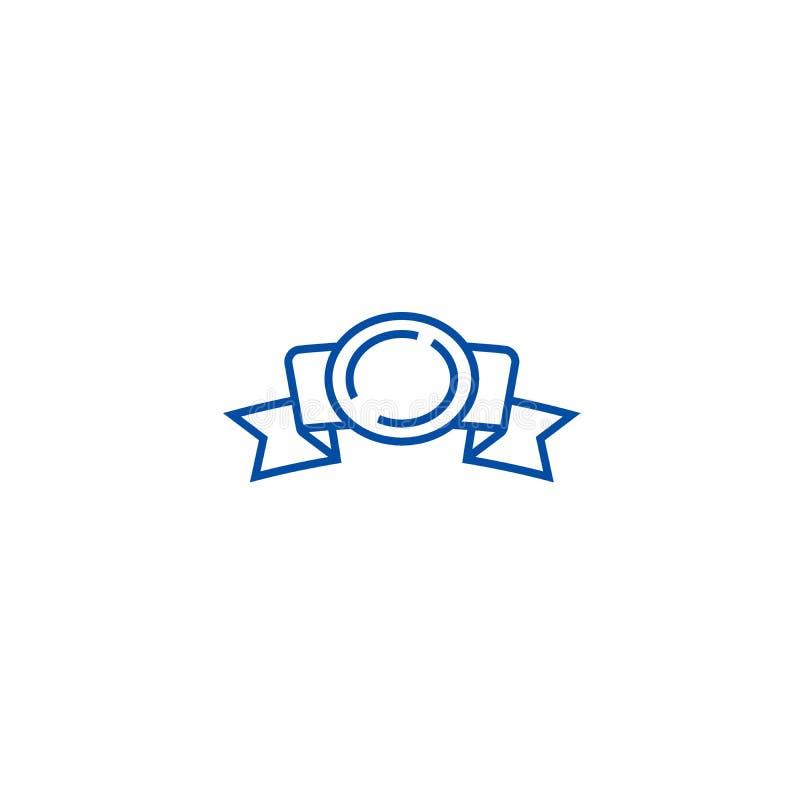 Tasiemkowi kąty z nagrody linii ikony pojęciem Faborek osacza z nagroda płaskim wektorowym symbolem, znak, kontur ilustracja ilustracja wektor