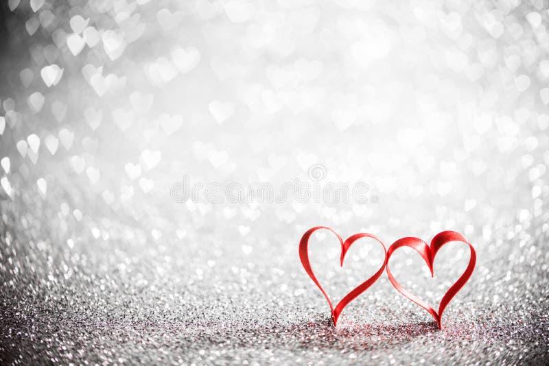 Tasiemkowi serca i bokeh światła fotografia royalty free
