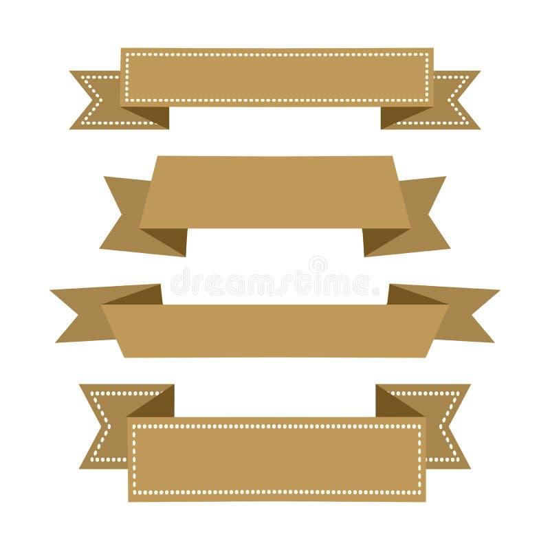 Tasiemkowi sztandary, złoty set dekoracje ?wi?teczne ekologicznego drewna wektor ilustracji