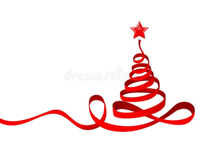 tasiemkowy Bożego Narodzenia drzewo ilustracja wektor