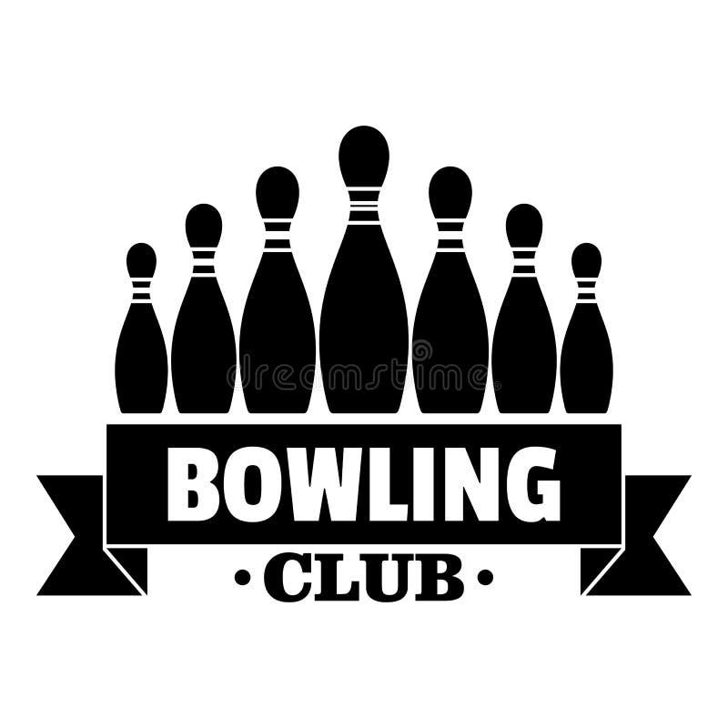 Tasiemkowy kręgle klubu logo, prosty styl ilustracji