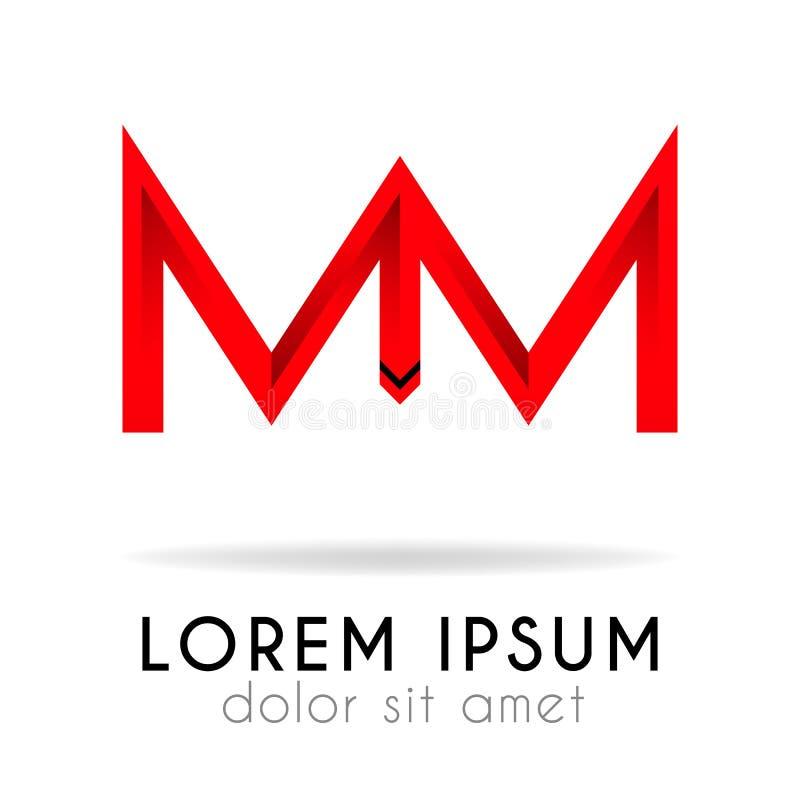 tasiemkowy logo w zmroku - czerwona gradacja z MM listem zdjęcia stock