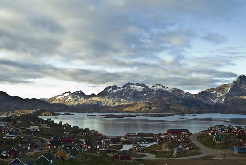 Tasiilaq, Greenland. Dramatic view of Tasiilaq, Greenland in late summer stock photo