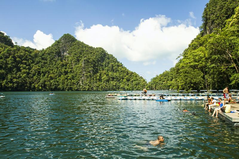 TASIK DAYANG BUNTING. The legend of Tasik Dayang Bunting goes like this: The favourite bathing pool of a celestial princess named Mambang Sari was said to be stock photography