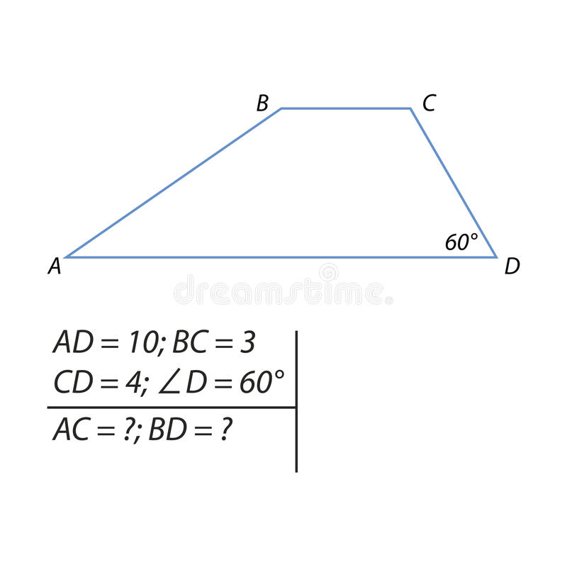 Task for calculating the basics of a trapezoid. Vector illustration of the problem of finding the diagonals of the trapezium vector illustration