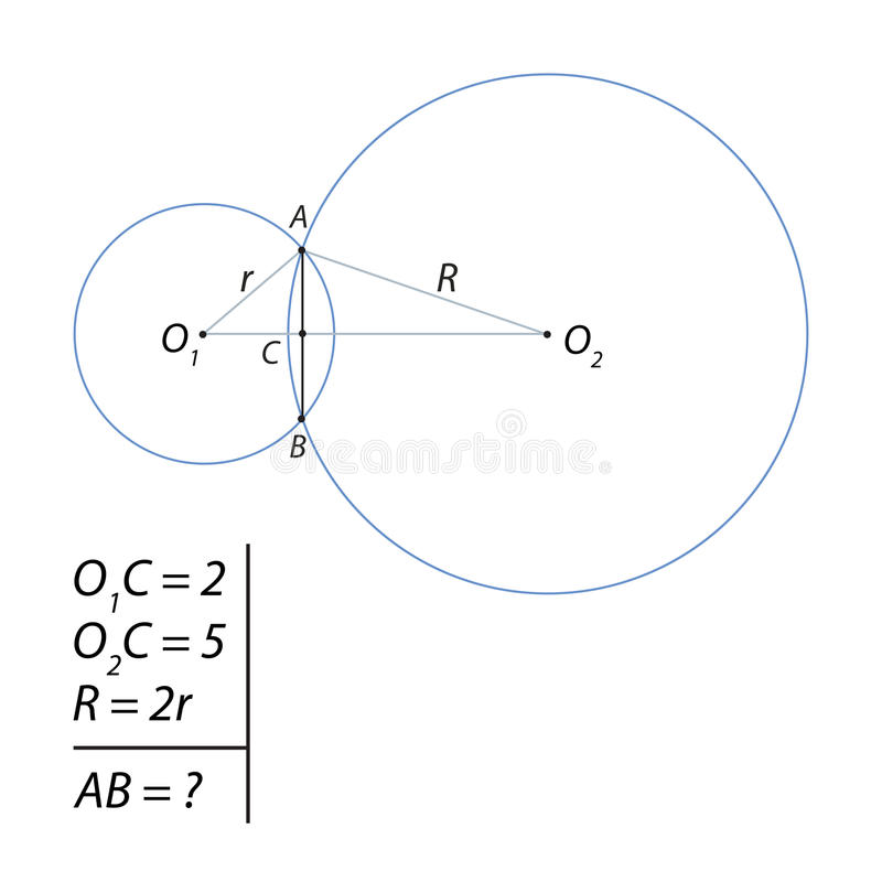 Task For Calculating The Total Chord Of Two Circles Stock Illustration -  Illustration of circles, finding: 95974823