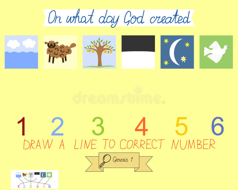 Task for children how to place days of creation. Book Of Genesis. Creation of the world. royalty free illustration