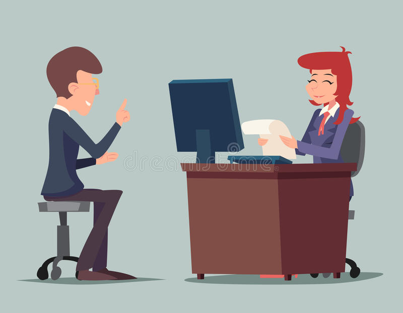 Task Conversation Job Interview Businessman at. Desk Working on Computer Cartoon Characters Icon Stylish Background Retro Cartoon Design Vector Illustration