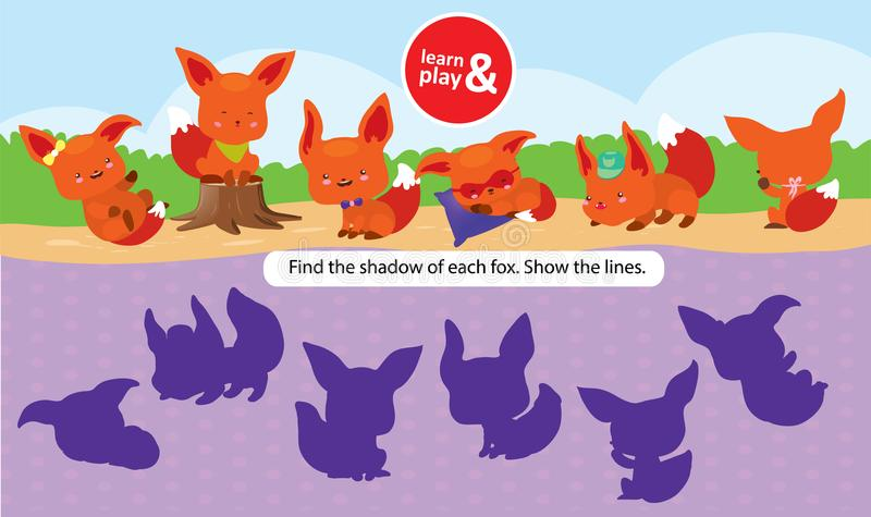 Task for development care and logic for children. Learn and play at same. Find right shade for each fox connect it with. Pencil. Vector isolated. Learn and play stock illustration