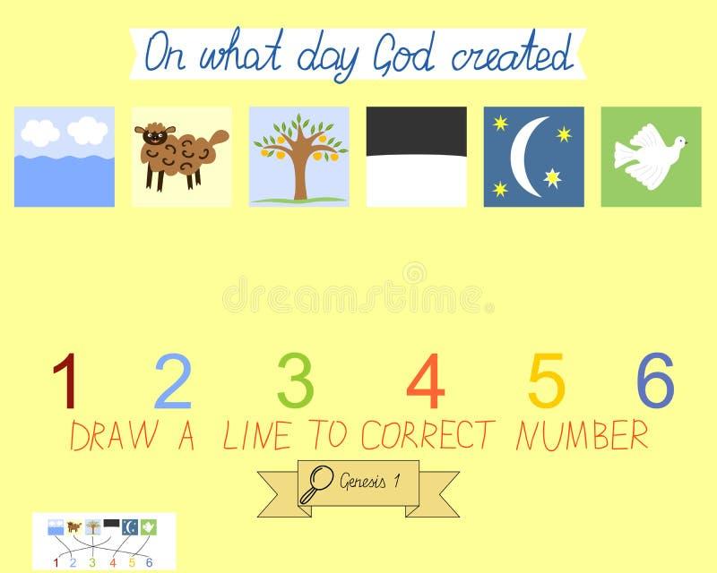 Task för barn hur man förlägger dagar av skapelsen Första mosebok Skapelse av världen royaltyfri illustrationer